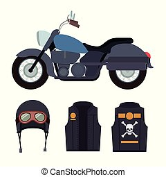 azul, casco, cráneo, clásico, símbolo, chaqueta, motocicleta, plano de fondo, huesos, blanco