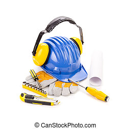 azul, casco de seguridad, con, audífonos