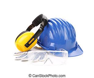 azul, casco de seguridad, con, audífonos, y, goggles.