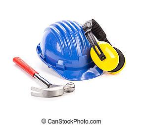 azul, casco de seguridad, con, earphones.