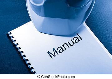 azul, casco, manual