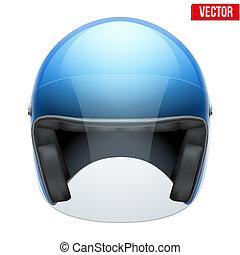 azul, casco, visor., moto, clásico, claro, vidrio, vector.