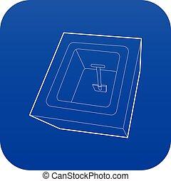 azul, cavado, vector, tumba, icono