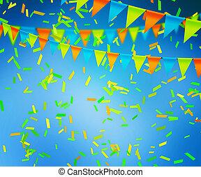 azul, celebração, fundo