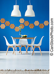 azul, cenar, real, habitación, inspiración