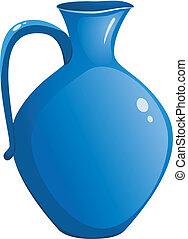 azul, cerámico, vector, pitcher.