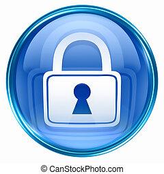azul, cerradura, icono
