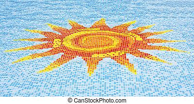 azul, chão, sol, céu, contra, mosaico, piscina, natação