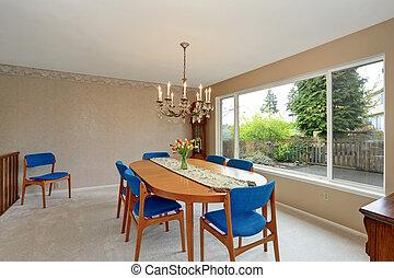 azul, chairs., habitación, real, moderno, dinning
