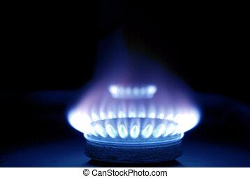 azul, chamas, de, gás