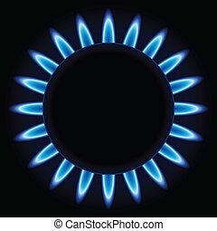 azul, chamas, queimador gás, anel, cozinha