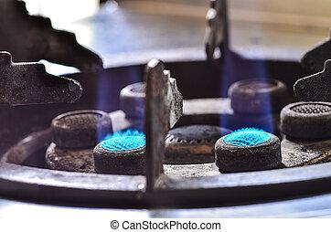 azul, chamas, queimadura, fogão, gás, cozinha
