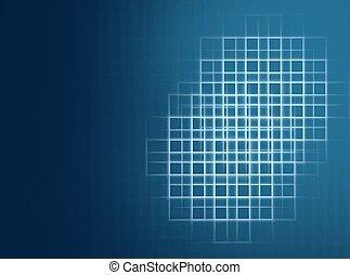 azul, checkered, espaço, abstratos, fundo, cópia, fractal