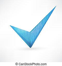 azul, checkmark.