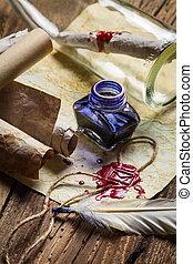 azul, cheio, antigas, scrolls, vindima, tinta, escrivaninha, escriba
