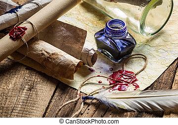 azul, cheio, antigas, scrolls, vindima, tinta, escrivaninha,...