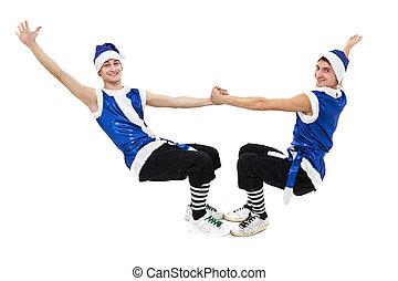 azul, cheio, dançar, homens, dois, contra, isolado, length., santa, christmas branco, roupas