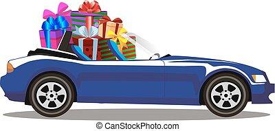 azul, cheio, presente, cabriolé, car, modernos, escuro, caixas, caricatura