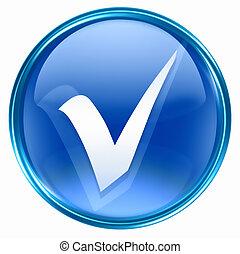 azul, cheque, icono