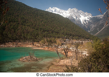 azul, chi, luna, sudoeste, valle, provincia, lijiang
