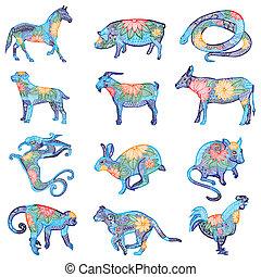 azul, chino, zodíaco, bordado