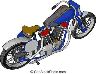 azul, chopper, vindima, ilustração, vetorial, motocicleta, fundo, branca