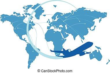azul, chorro, avión, silueta, con, mapa, de, el mundo, atrás