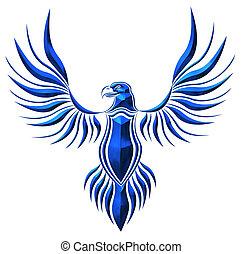 azul, chromed, halcón, ilustración