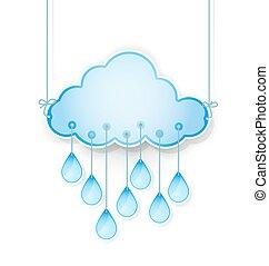 azul, chuva, vetorial, ilustração, penduradas, gotas, nuvem, white.