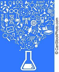 azul, ciência, fundo