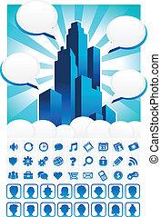 azul, cidade, ícones