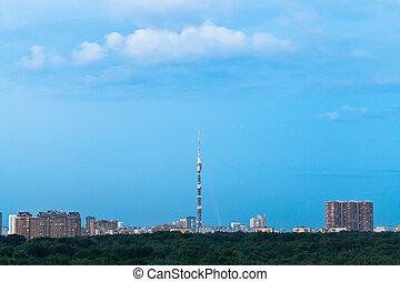 azul, cidade, durk, anoitecer, sobre, céu, verão