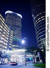 azul, cidade, edifícios, houston, luzes, noturna