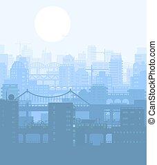 azul, cidade, edifícios, vista