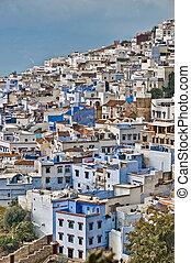 azul, cidade, geral, marrocos, chefchaouen, vista
