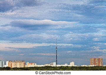 azul, cidade, nuvens, sobre, céu, pôr do sol