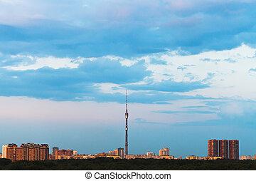 azul, cidade, verão, sobre, céu, gloaming