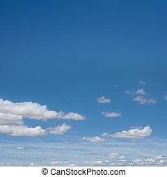 azul, cielo, blanco, nubes