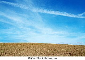 azul, cielo claro, horizont, otoño, campo, agradable