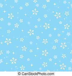 azul, -, cielo, copos de nieve, navidad