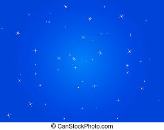 azul, cielo de la noche, con, estrellas