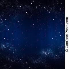 azul, cielo estrellado, plano de fondo