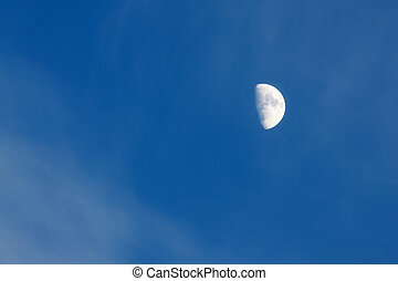 azul, cielo grande, brillado, luna