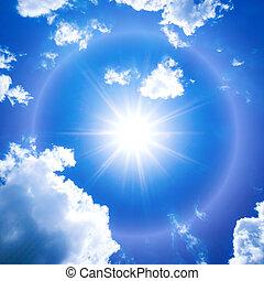 azul, cielo, nubes, sol
