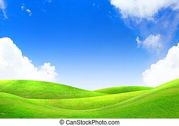 azul, cielo, pasto o césped, verde