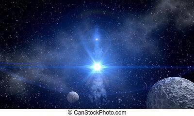 azul, ciencia ficción, plano de fondo, estrella