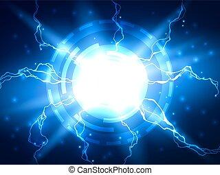 azul, ciencia, resumen, relámpago, vector, plano de fondo