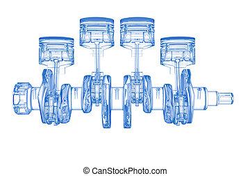 azul, cilindro, (3d, xray, branco), manivela, transparente