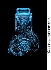 azul, cilindro, xray, manivela, transparente, 3d