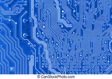 azul, cima, tábua circuito